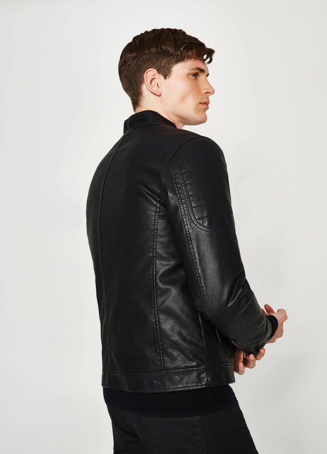 Leather-look jacket with high neck
