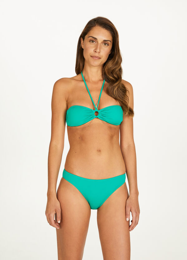 Solid colour stretch bikini with ring