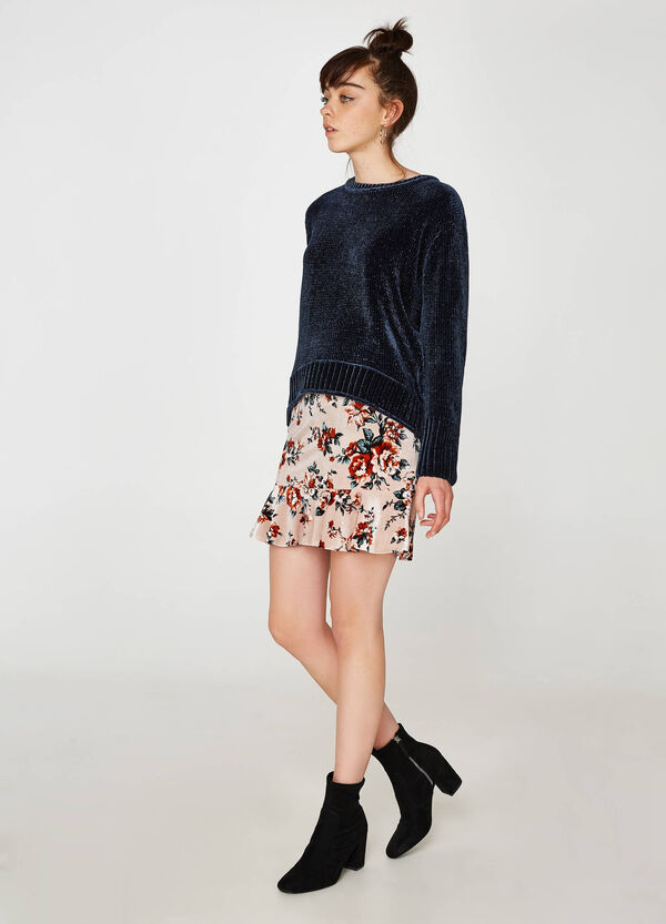 Stretch skirt with floral print