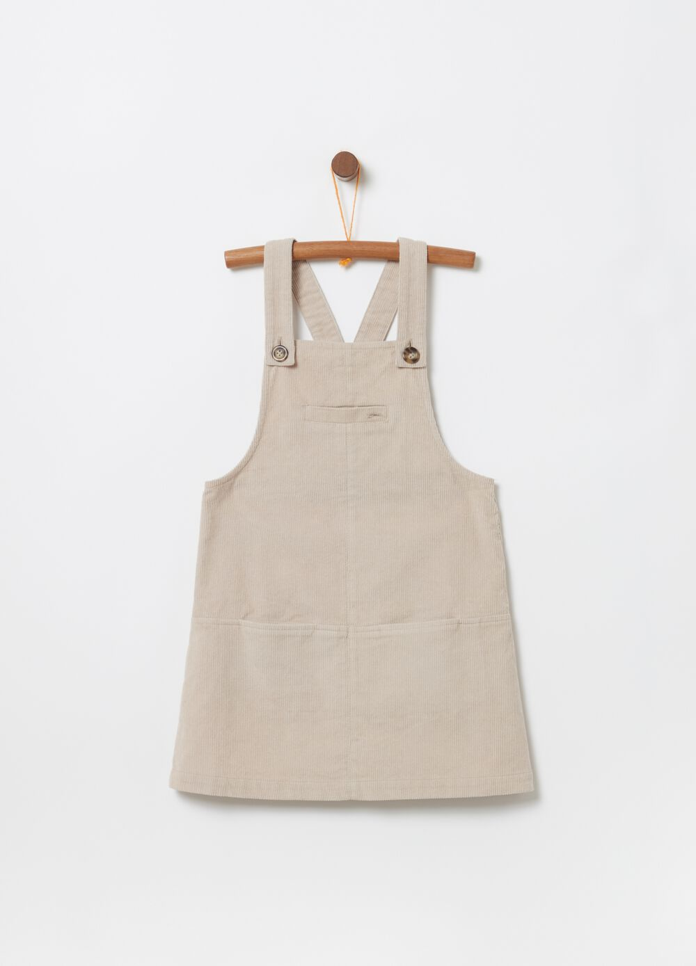 100% cotton corduroy pinafore dress