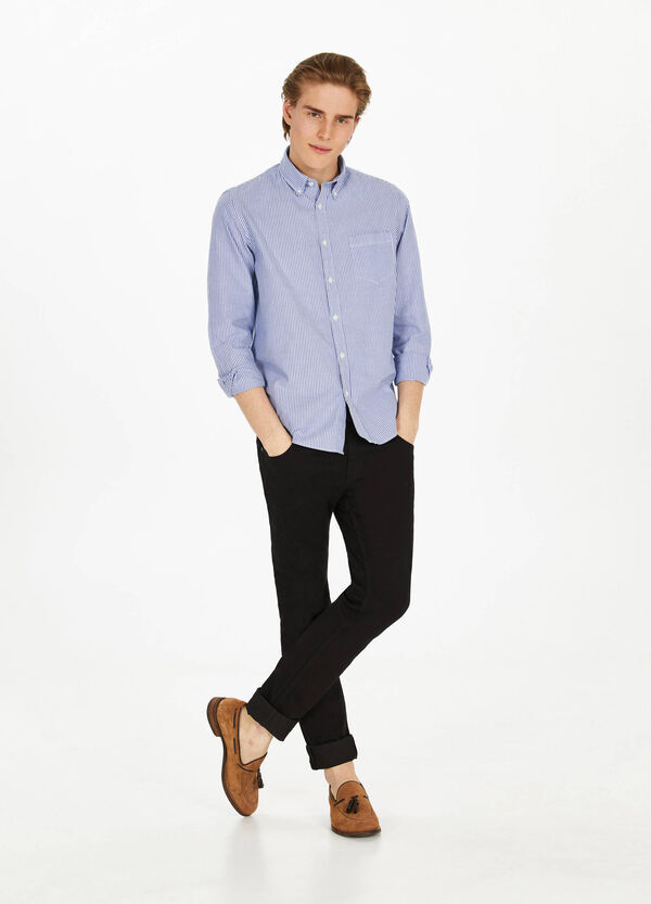 Casual shirt in cotton with striped pattern