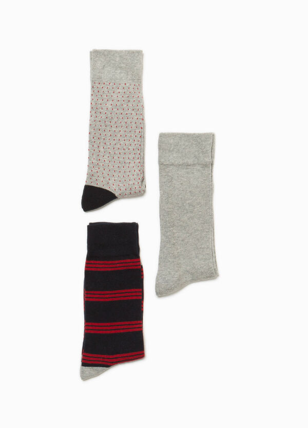 Three-pair pack striped and speckled socks