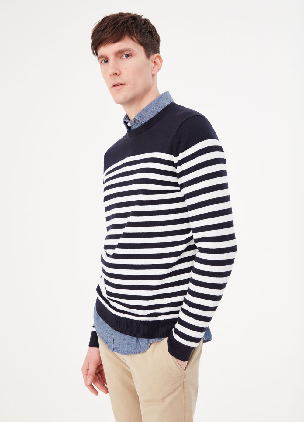 Knitted pullover in 100% cotton with striped pattern