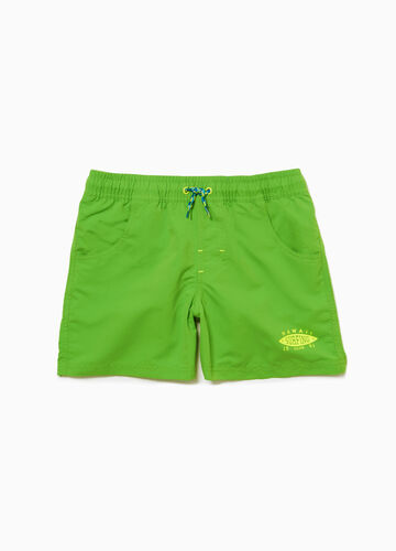 Solid colour lettering beach shorts