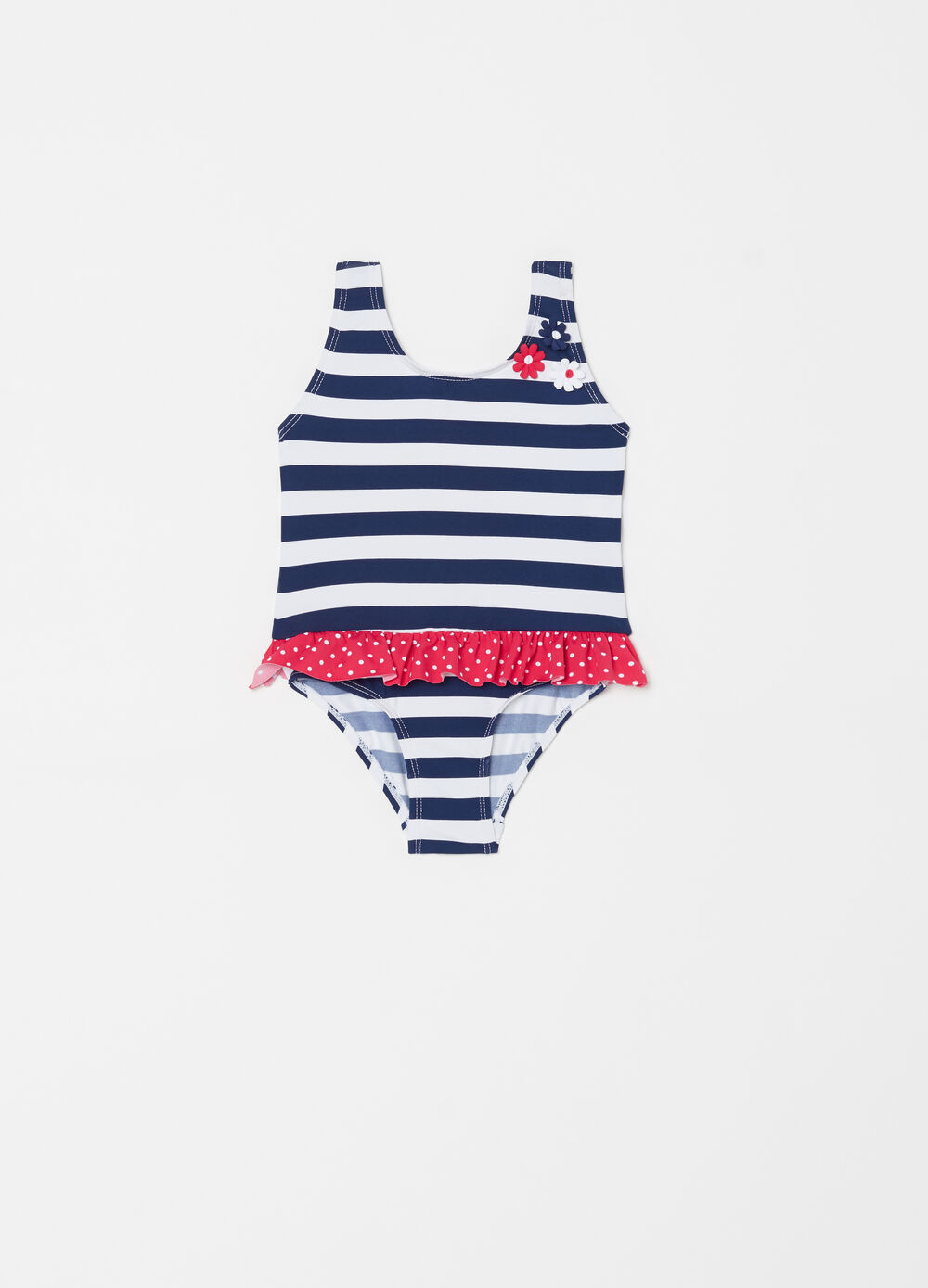 One-piece swimsuit with flowers, frills, stripes and polka dots