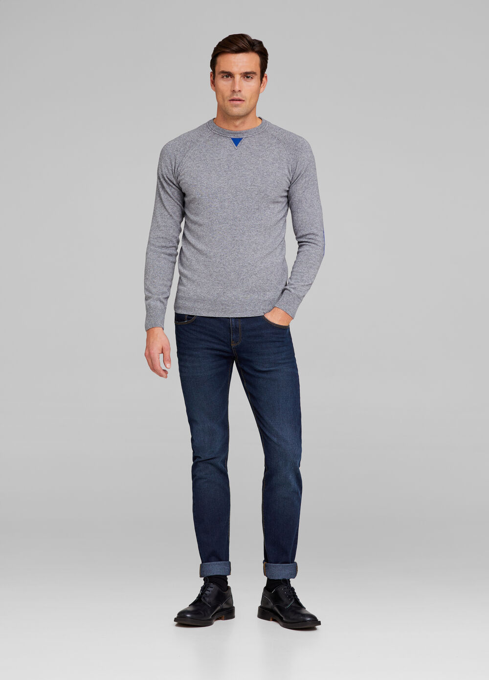 Tencel and wool blend pullover with patch