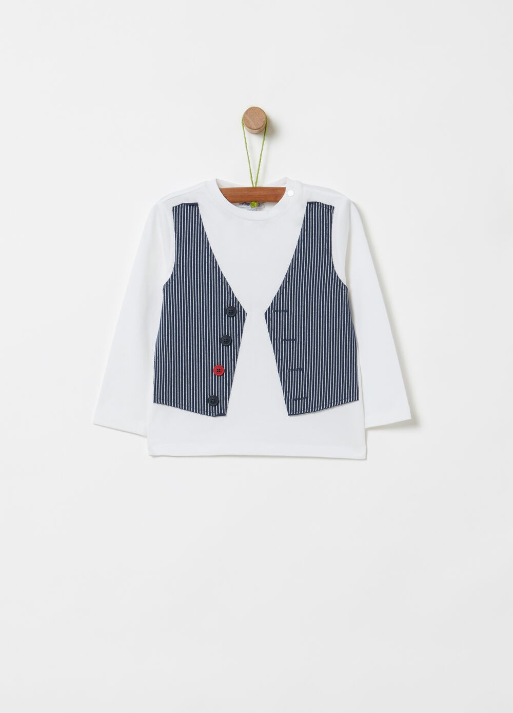 Organic cotton T-shirt with false gilet