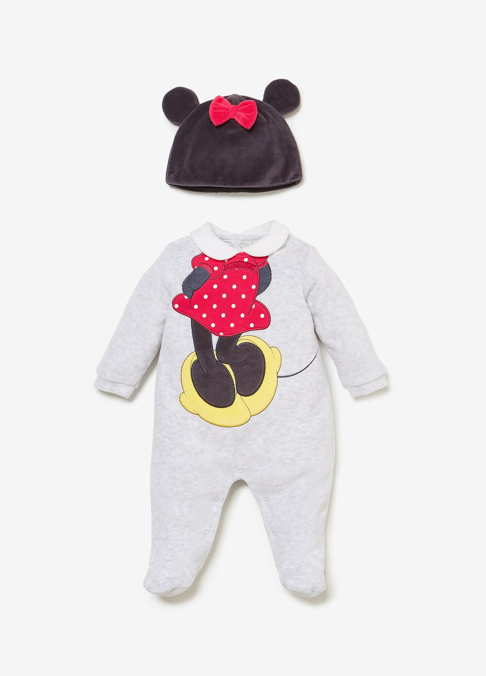Minnie Mouse onesie and hat outfit