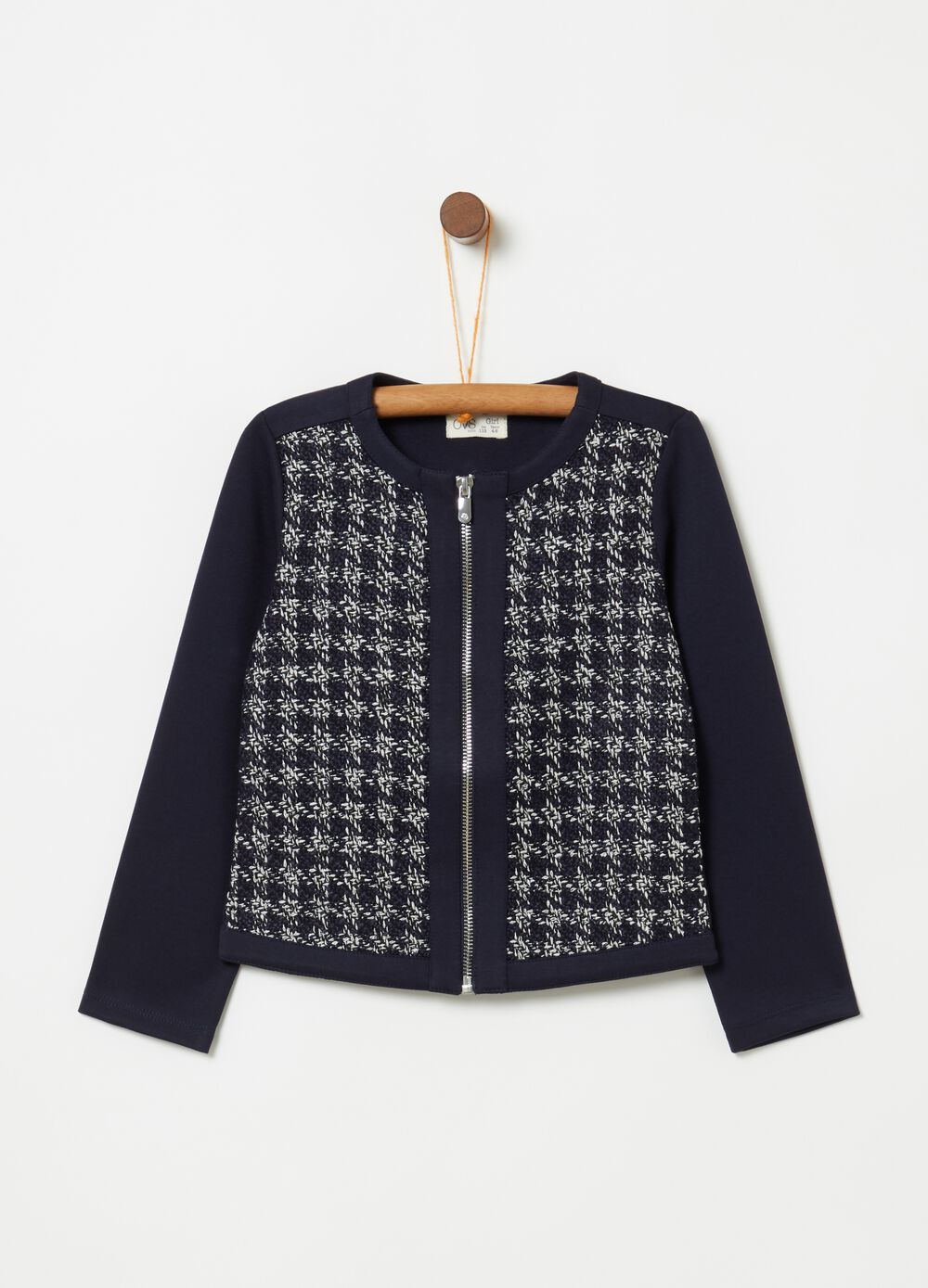 Short jacket with braided weave