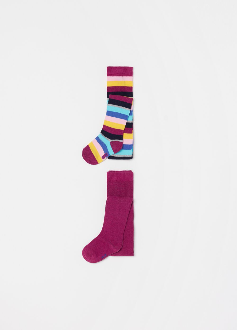 Two-pair pack long socks with glitter crazy stripes