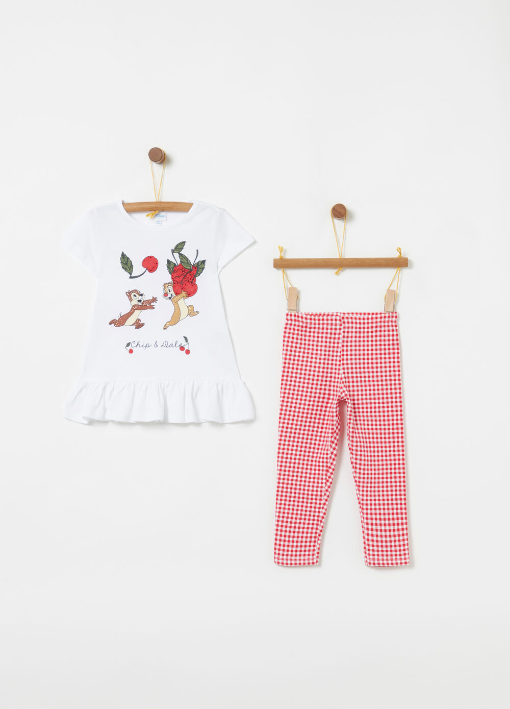 Disney jogging set with frills and Vichy pattern