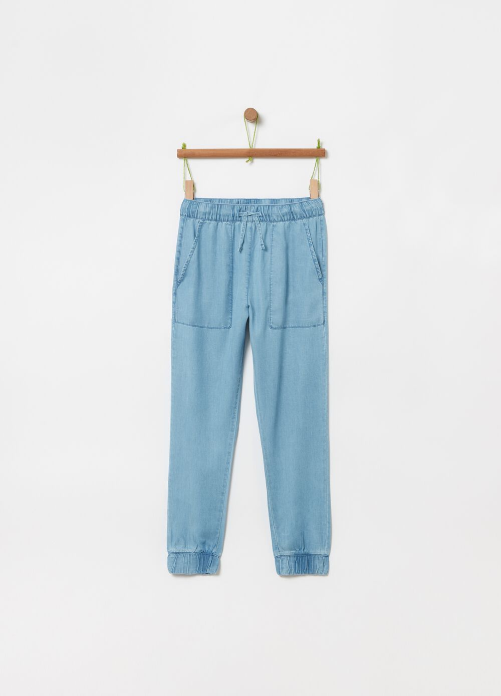 100% Lyocell trousers with drawstring