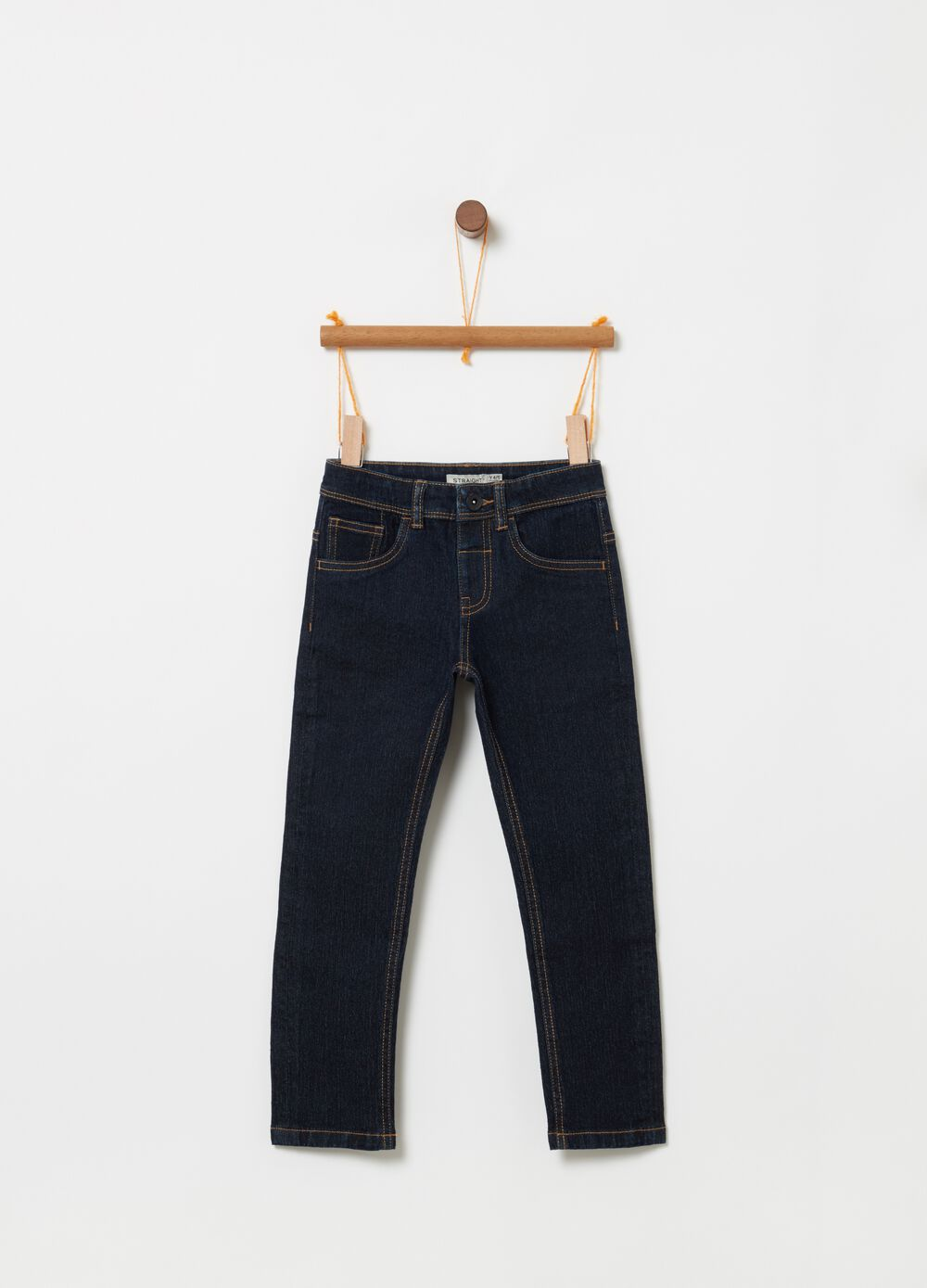 Straight-fit stretch jeans with pockets