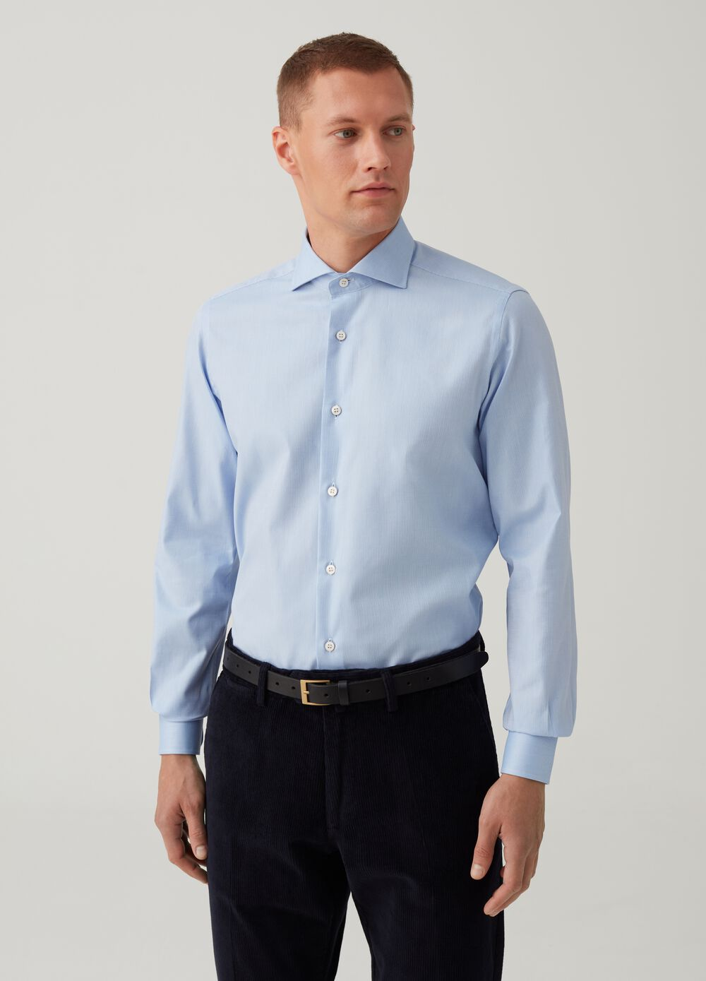 Rumford cotton shirt with micro stripes