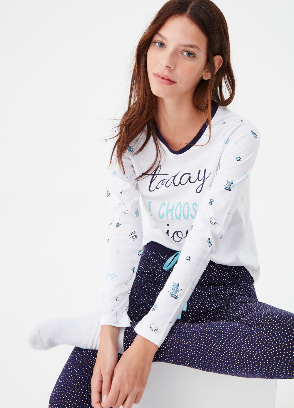 100% cotton pyjamas with raglan sleeves
