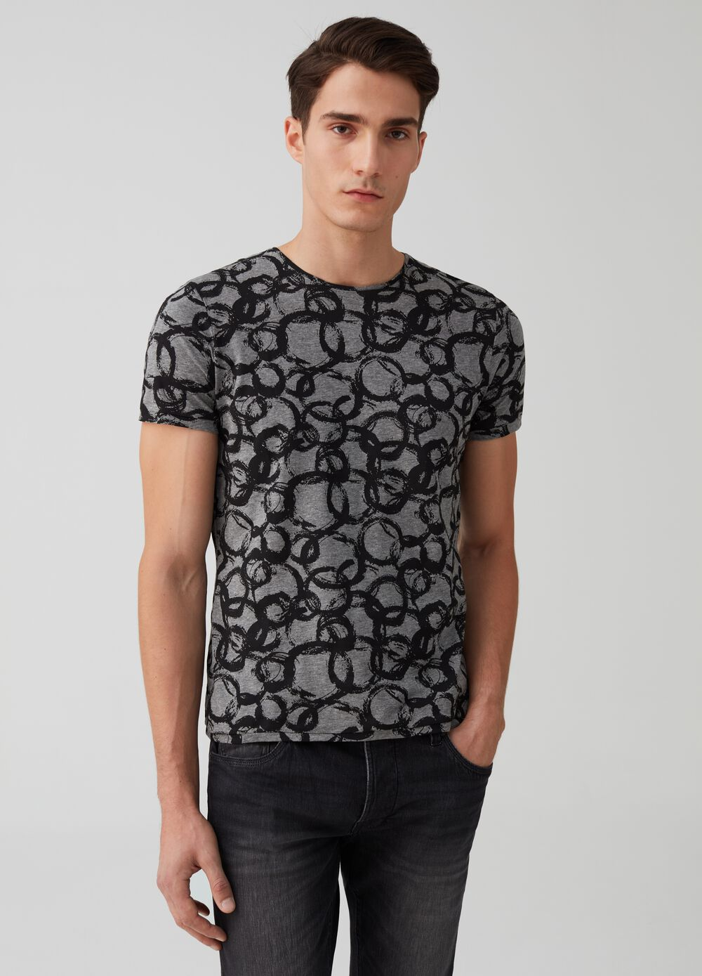 Stretch cotton T-shirt with circle print