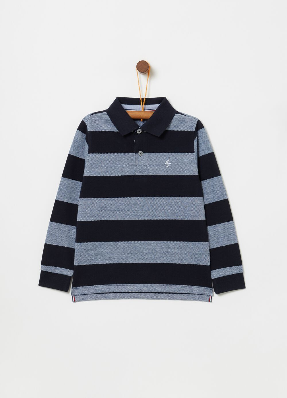 100% cotton piquet striped polo shirt