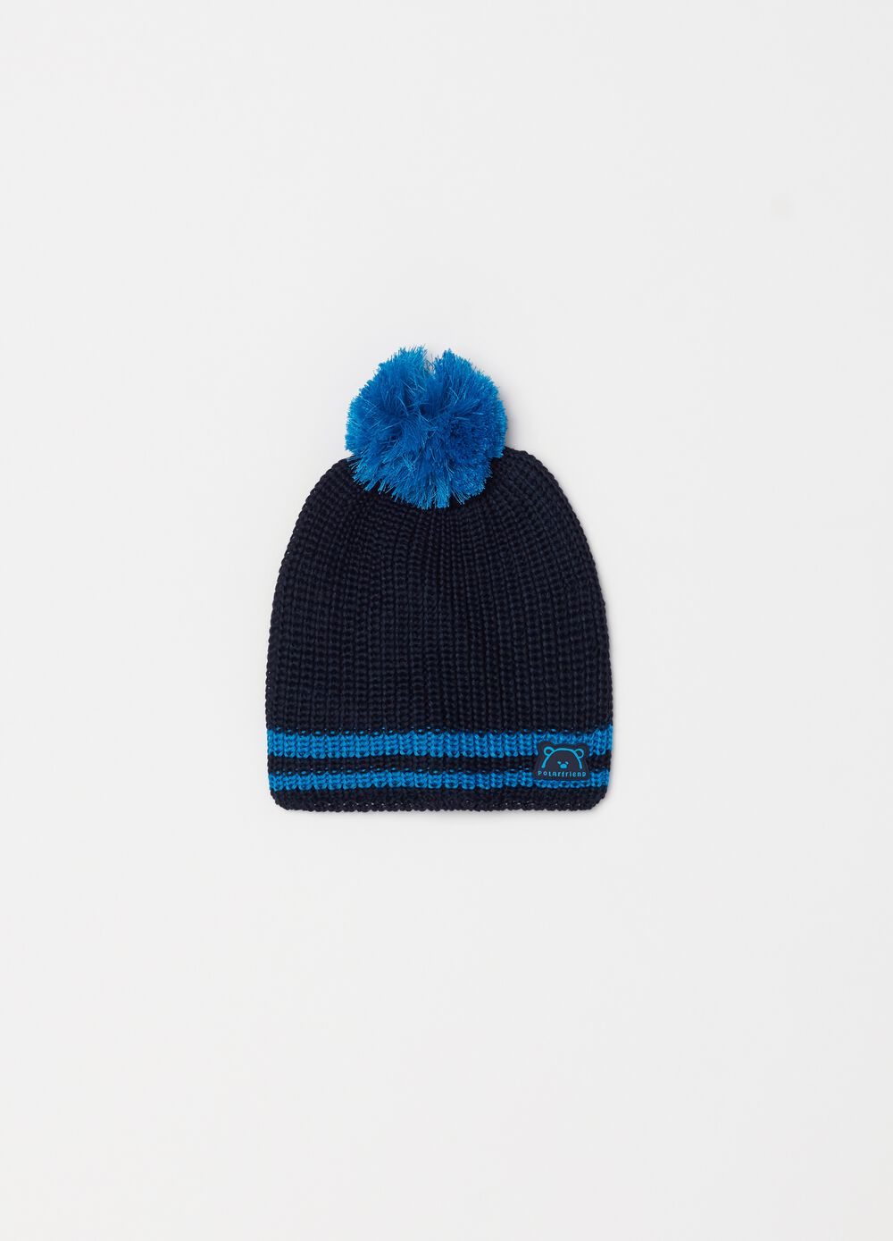 Hat with pompom and teddy bear patch