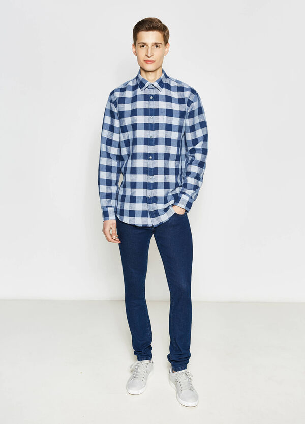 Casual check linen shirt