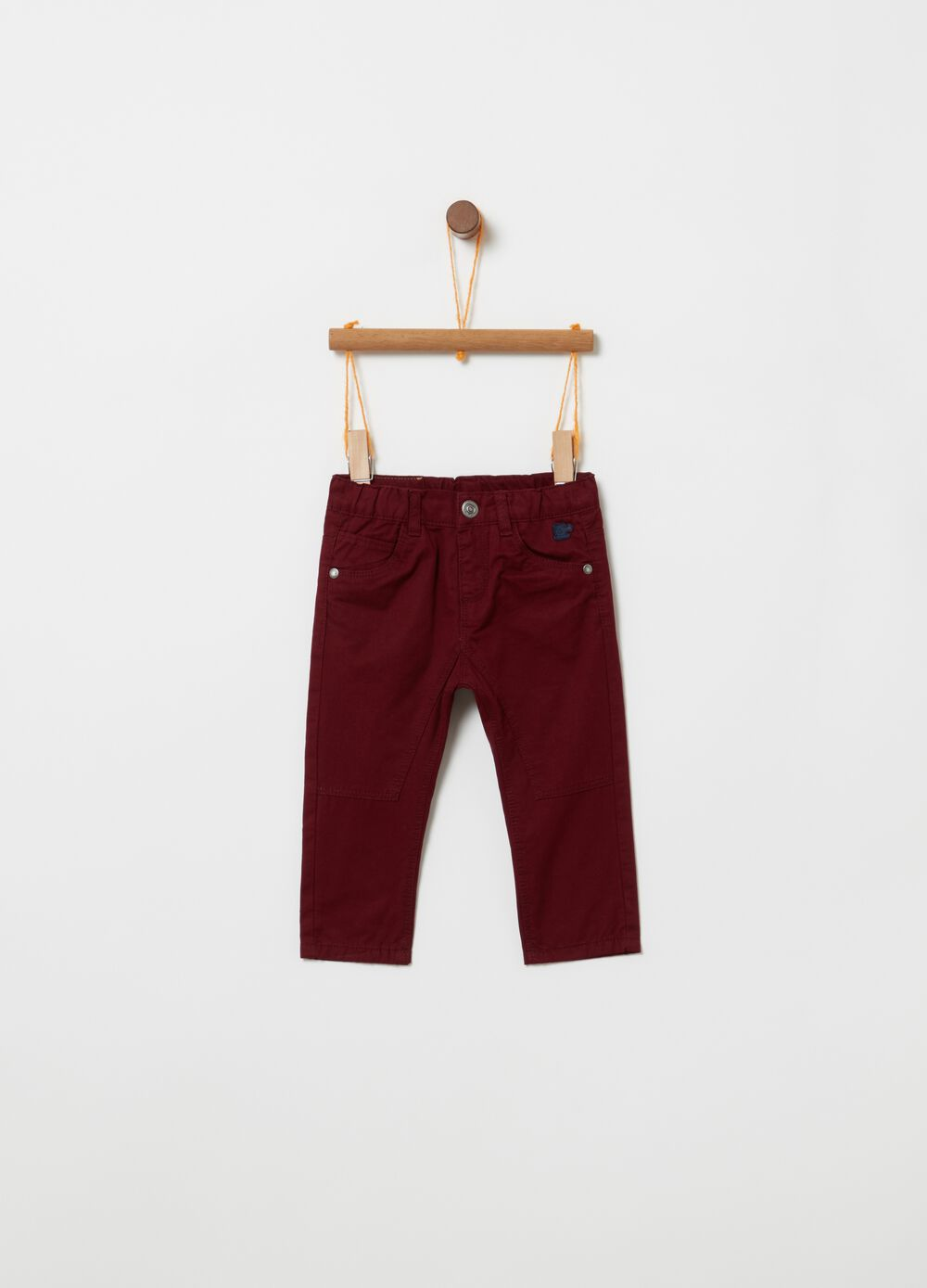 100% cotton twill trousers with jersey lining