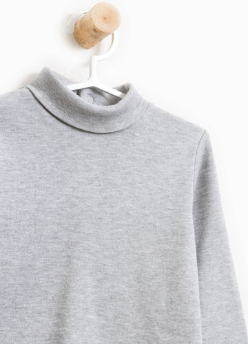 Cotton and viscose turtleneck jumper with patch