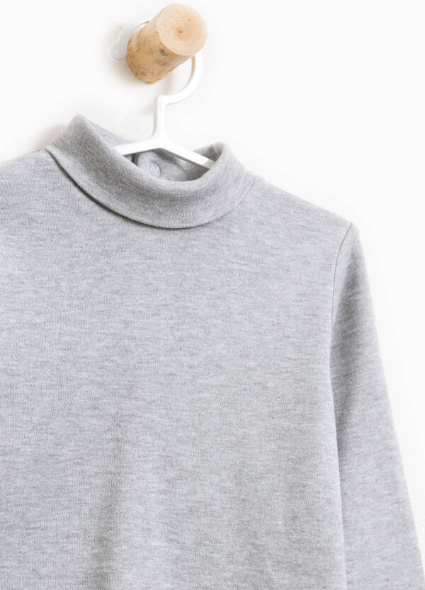 Cotton and viscose turtleneck jumper with patch | OVS