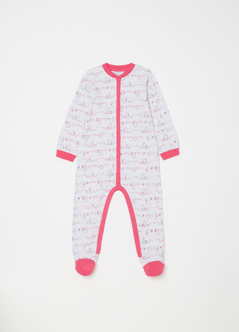 Mélange sleepsuit with sheep pattern