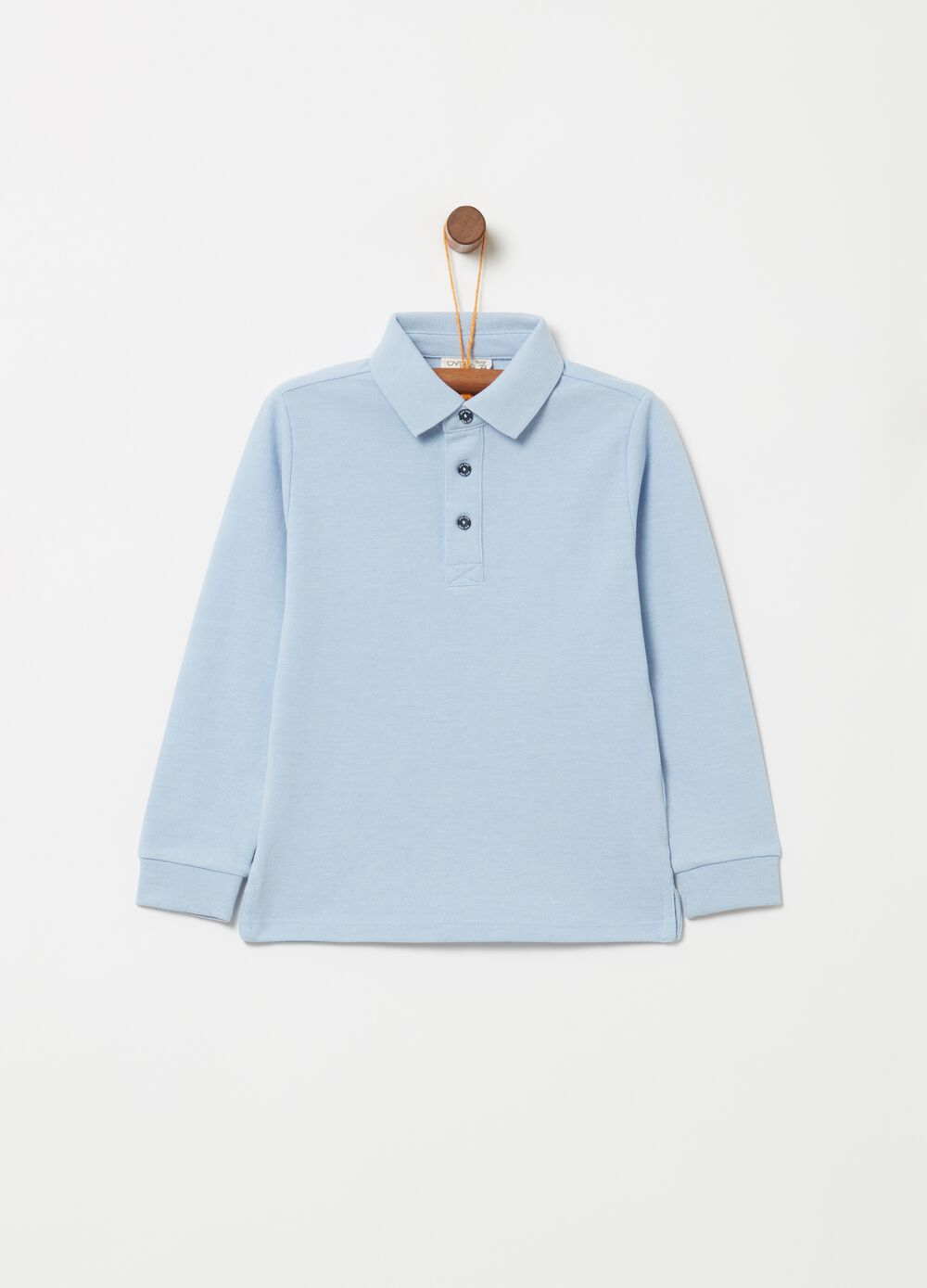 Polo shirt with long sleeves and ribbing
