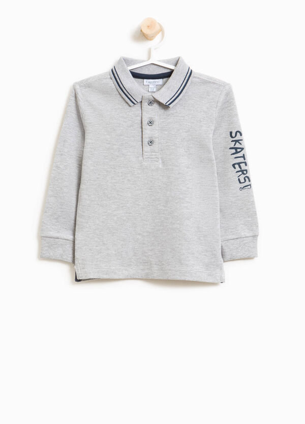 Cotton and viscose polo shirt with printed lettering | OVS