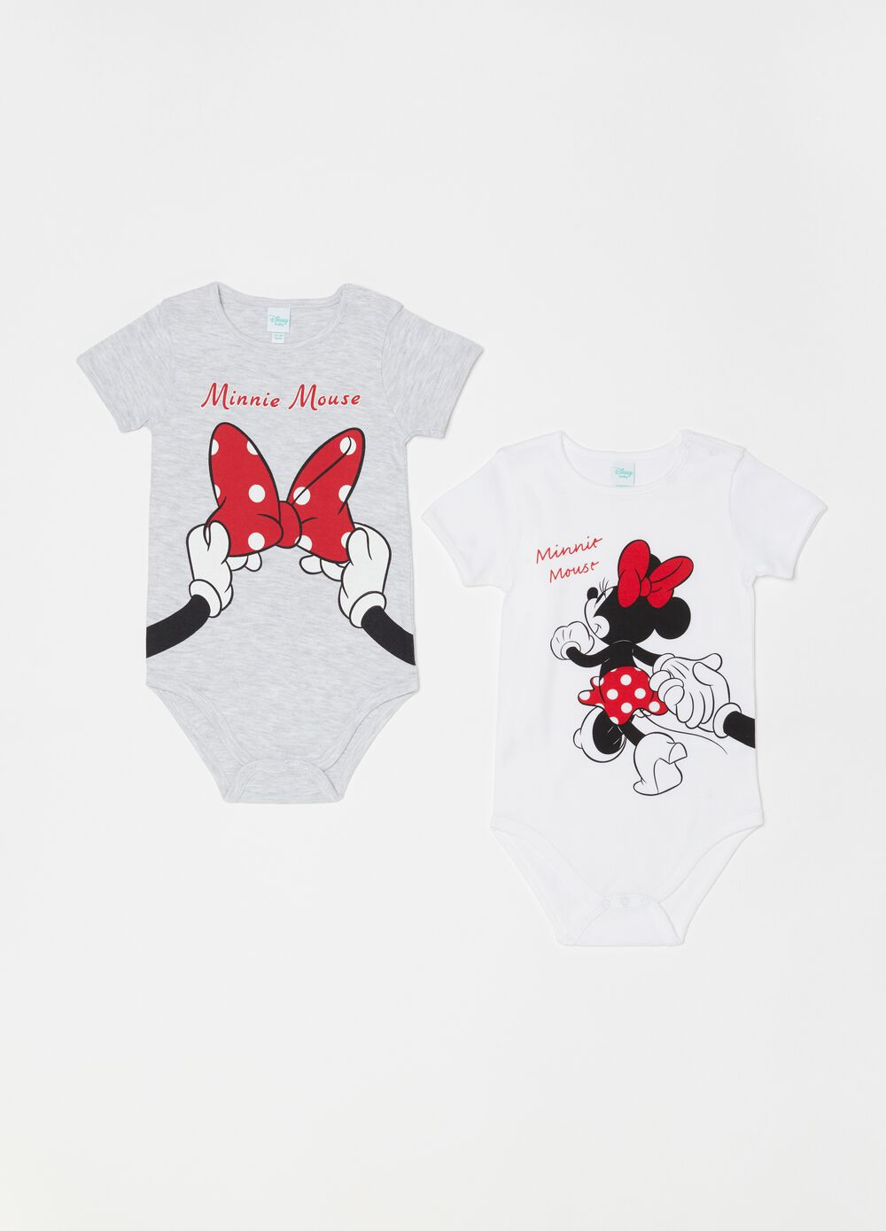 Two-pack Disney Minnie Mouse bodysuits with short sleeves