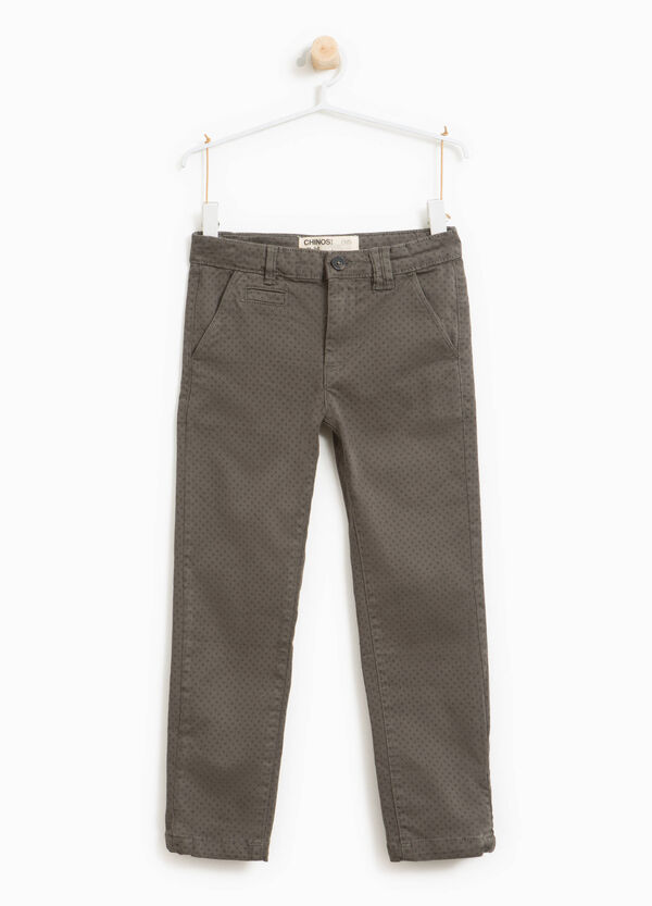 Stretch chino trousers with all-over print