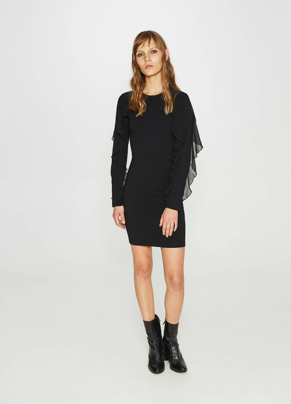 Stretch tube dress with tulle flounce | OVS