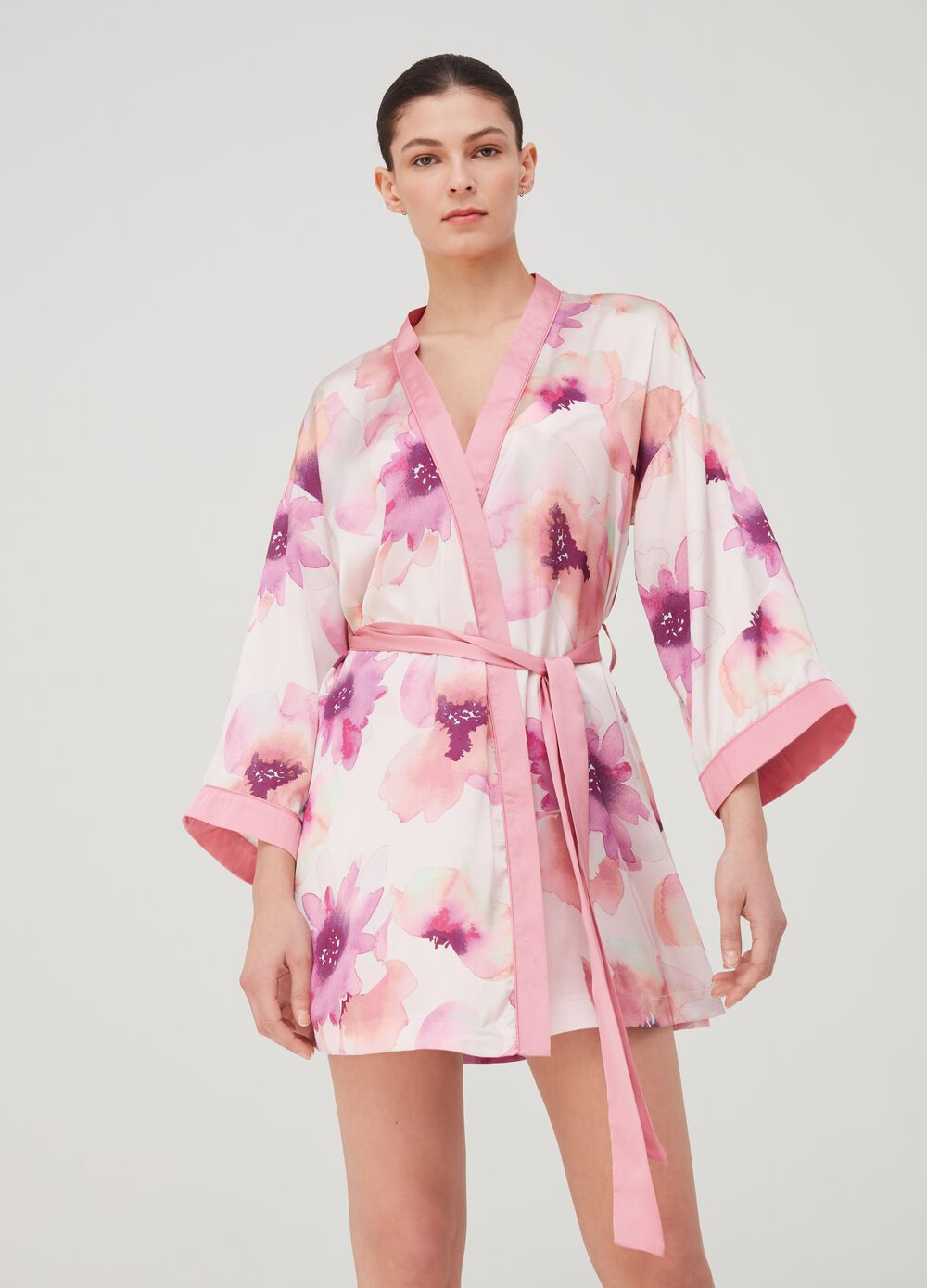 Floral dressing gown with belt