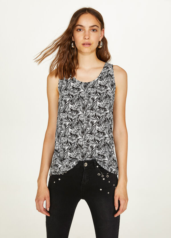 Viscose top with contrasting print