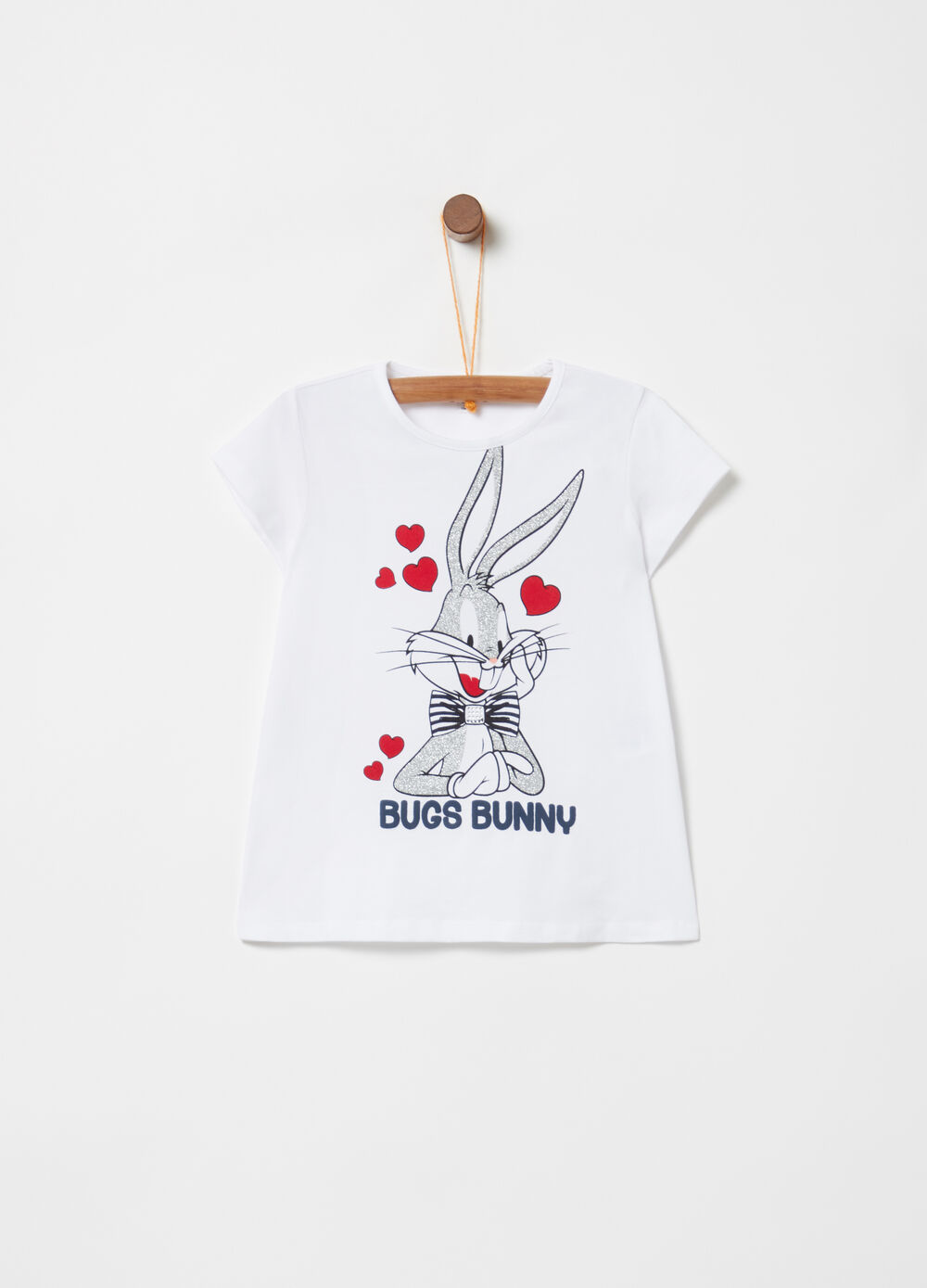 T-shirt with glitter Bugs Bunny print