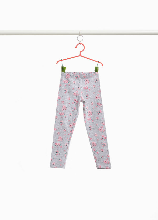Floral leggings in stretch cotton