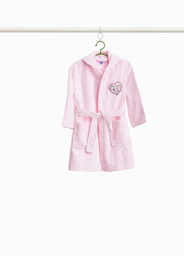 Bathrobe with belt and embroidery