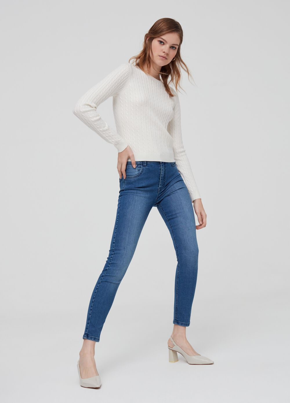 Solid colour super-skinny fit stretch jeans