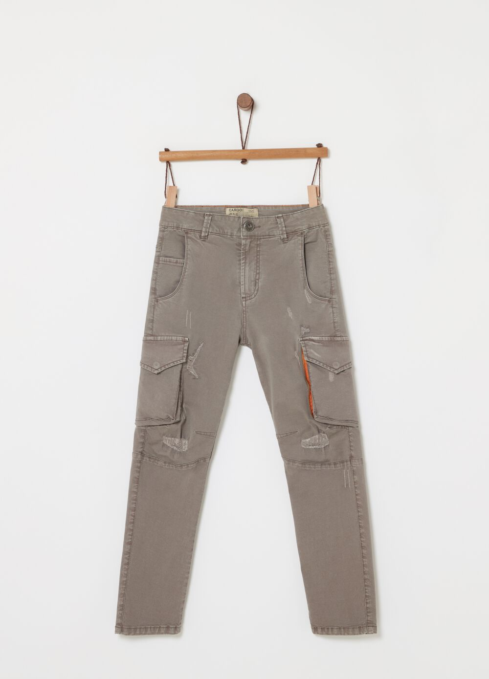 Comfort-fit cargo trousers in garment-dyed stretch twill
