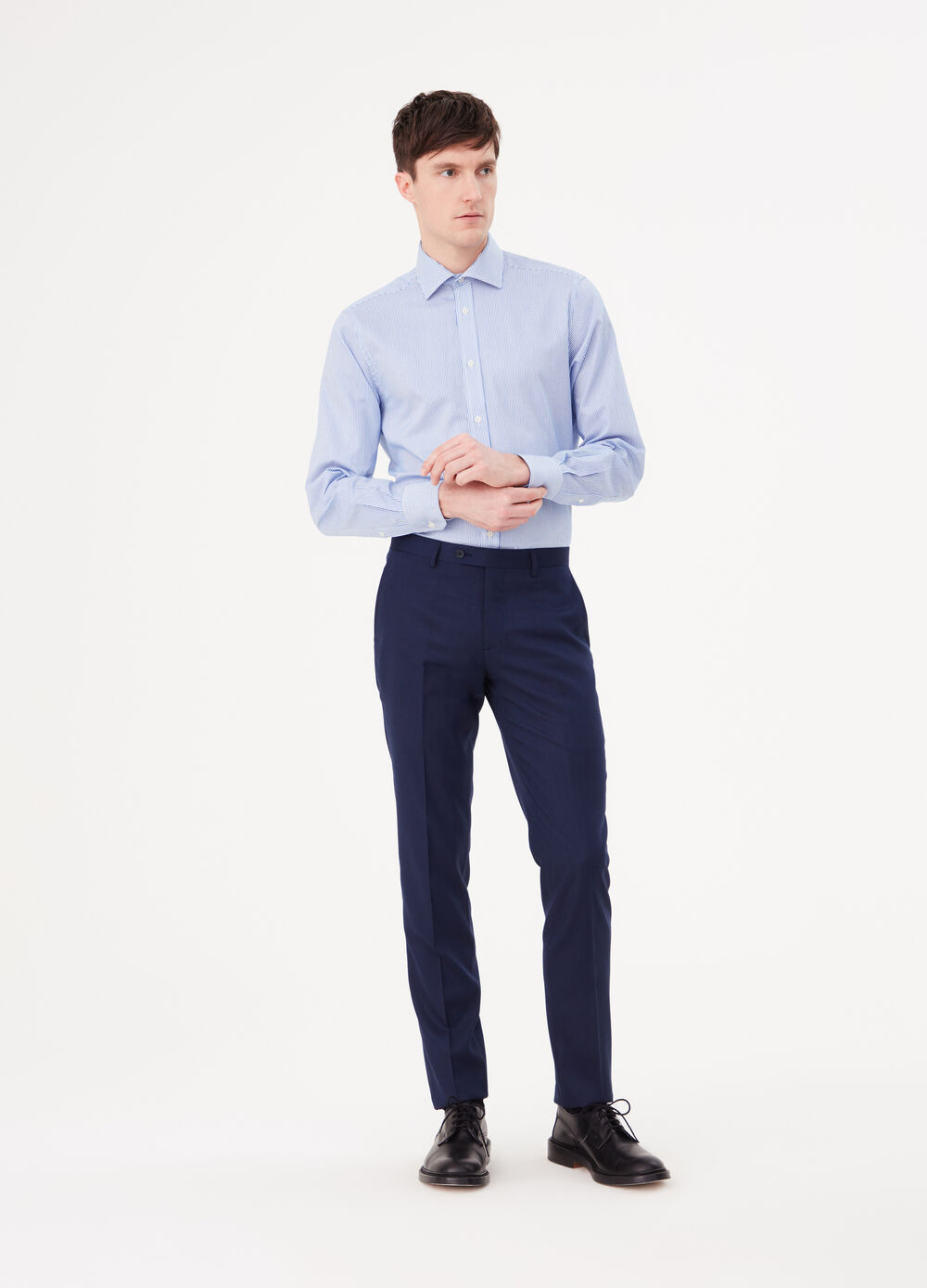 Stretch slim-fit trousers with crease