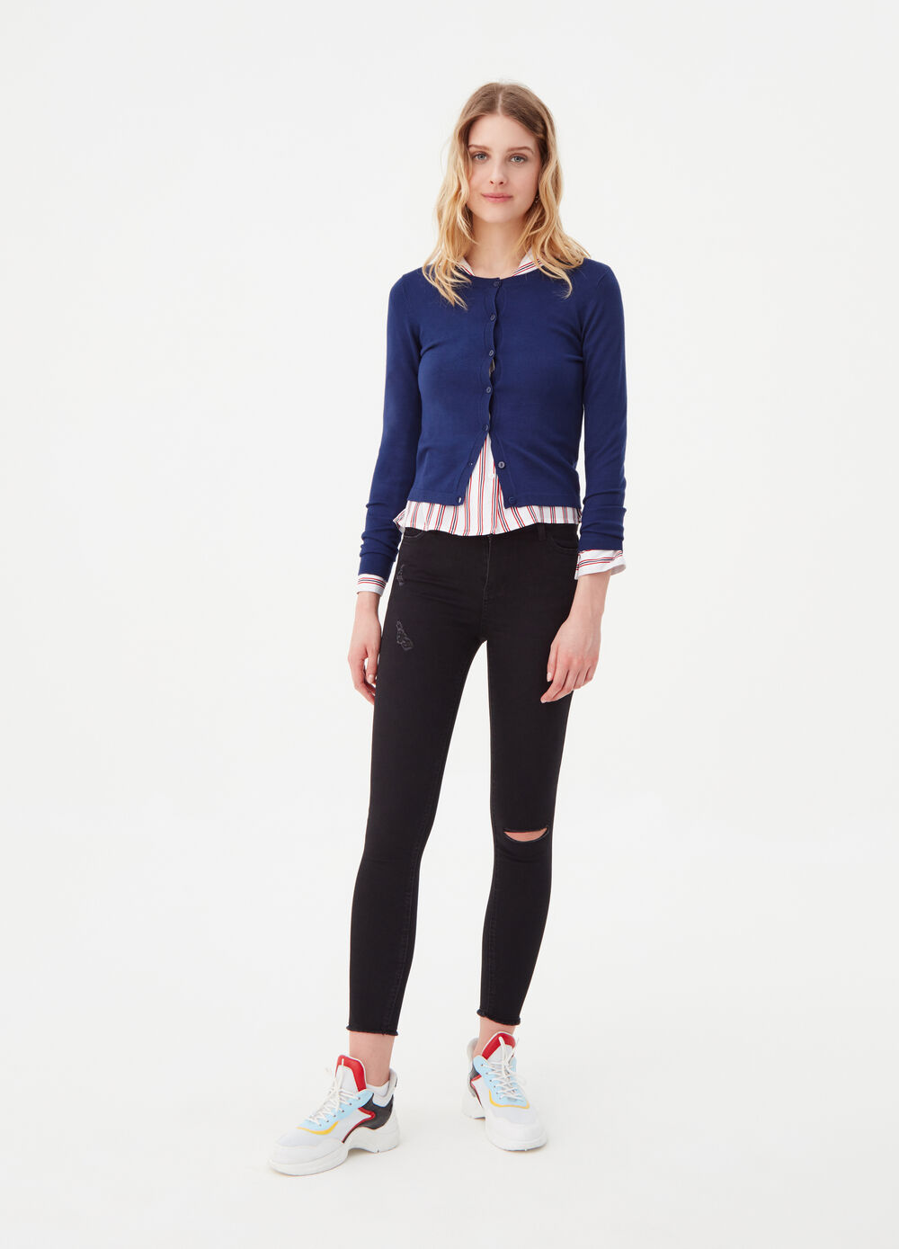 Knitted basic cardigan with ribbing