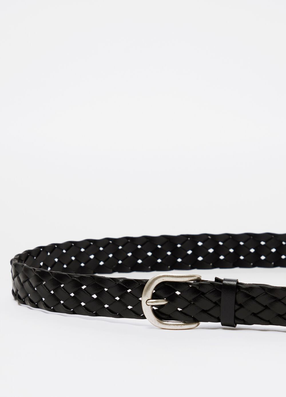Braided real leather belt with buckle