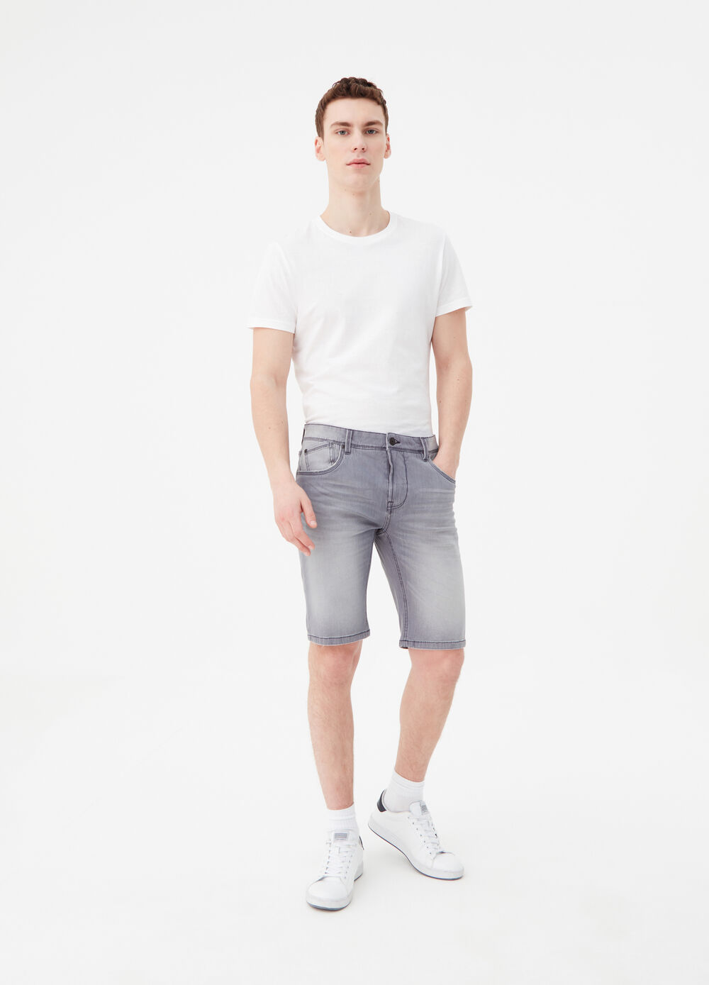 Slim-fit washed-effect denim Bermuda shorts