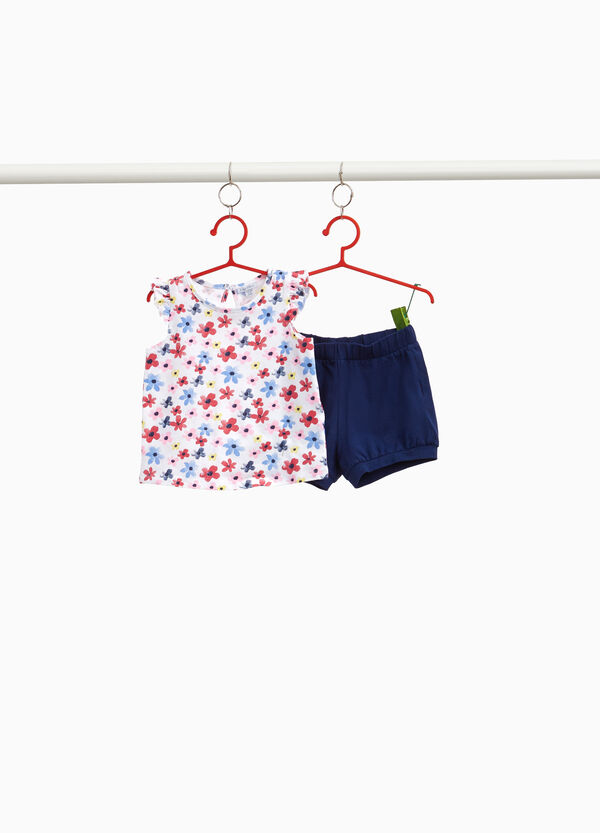 Floral cotton outfit with flounce
