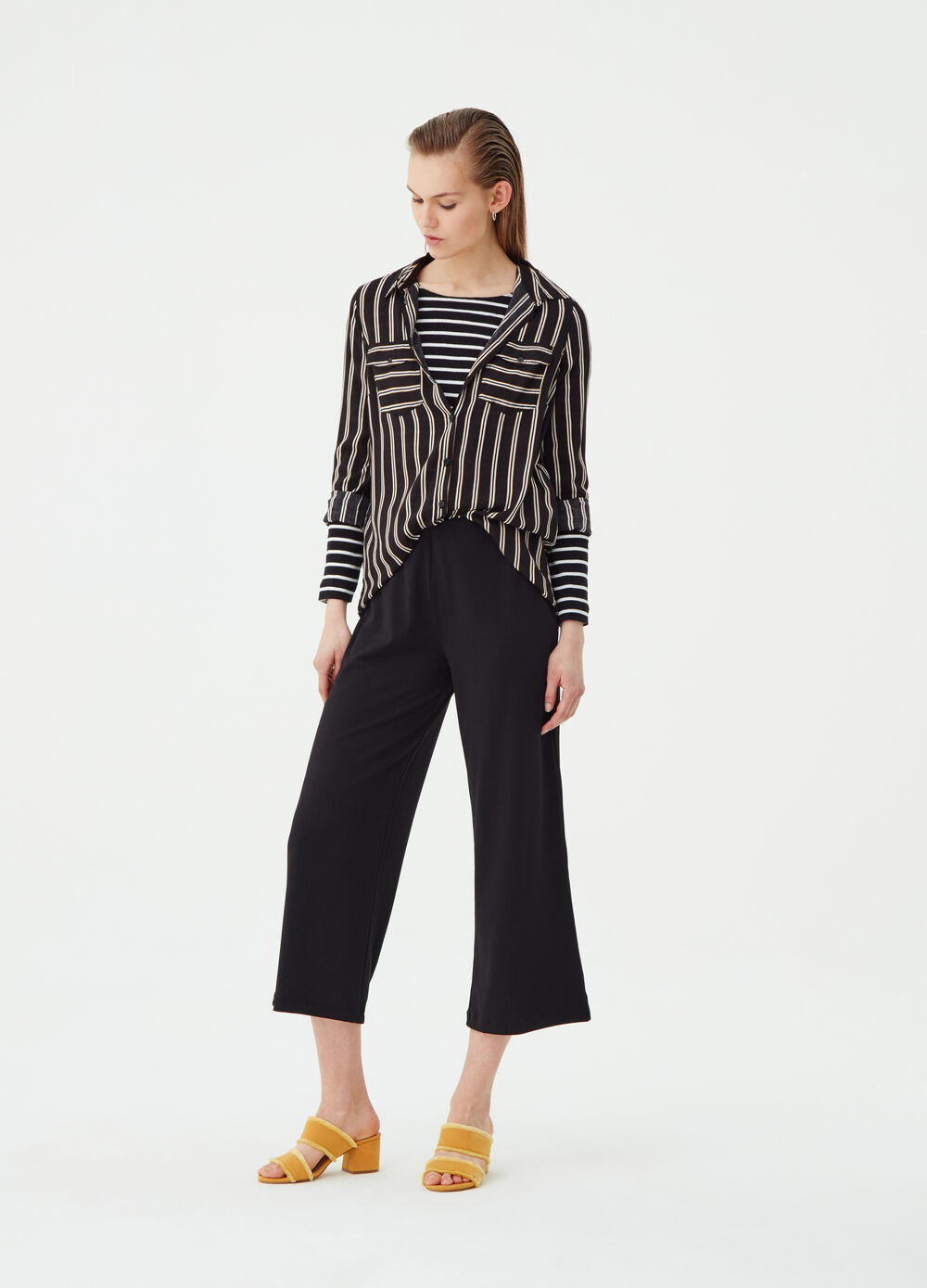 Solid colour crop palazzo trousers