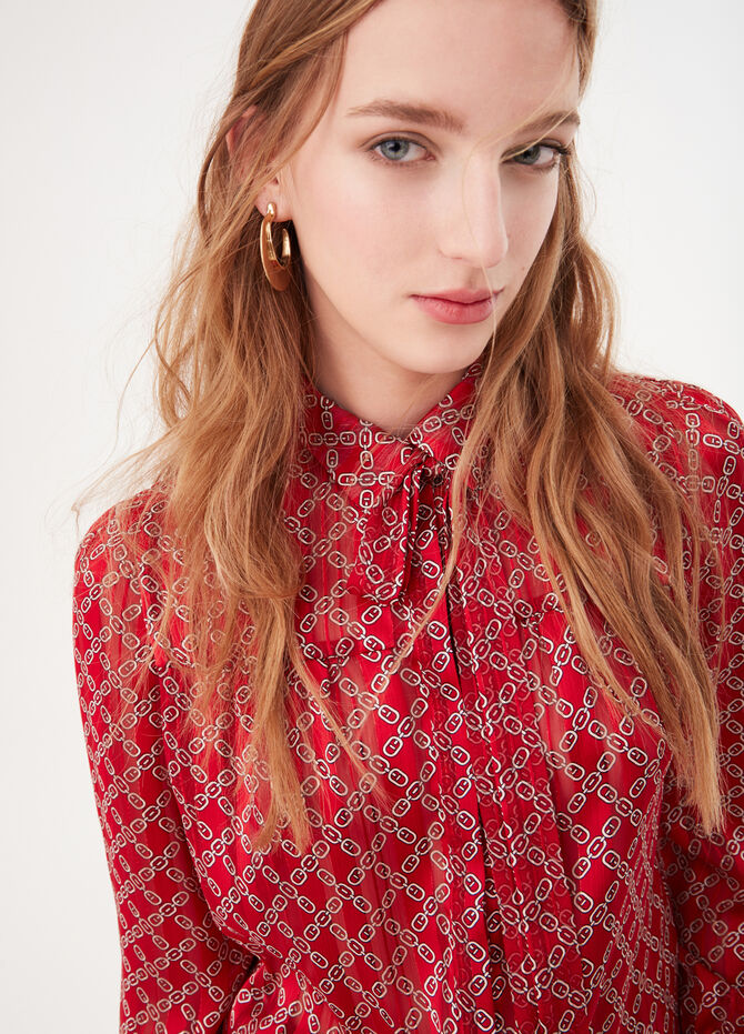 Blouse with chain pattern and collar
