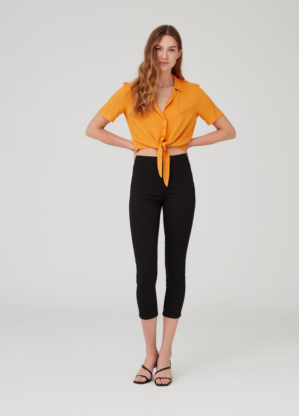 Super-skinny crop trousers with high waist