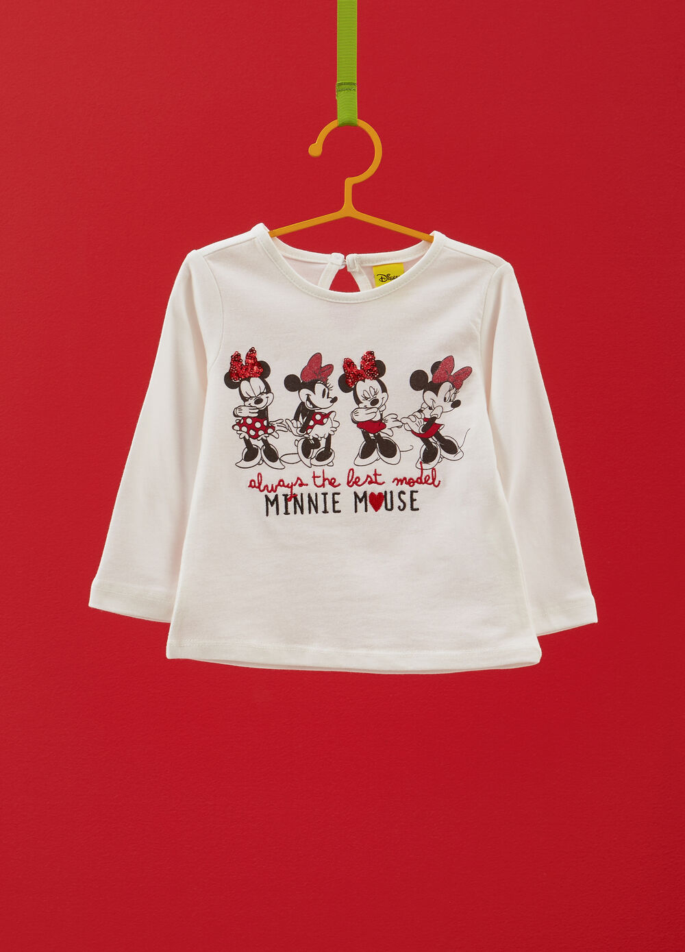 100% cotton T-shirt with embroidery and Minnie Mouse print