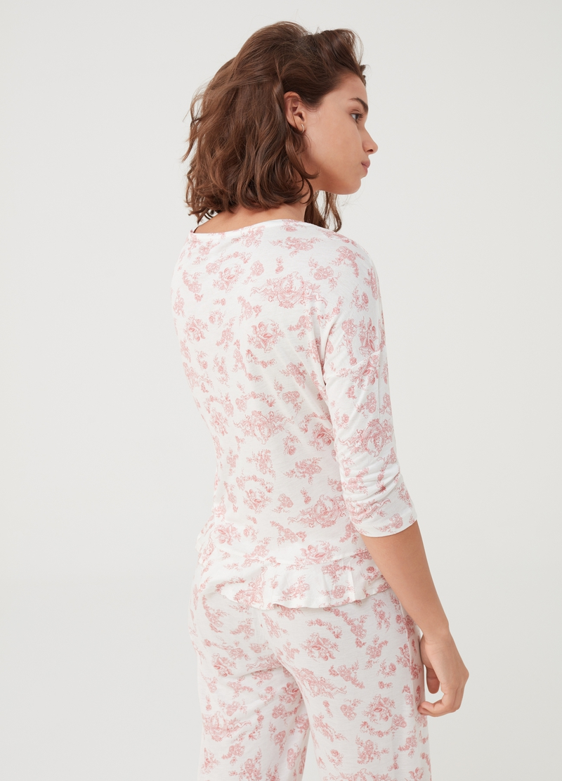 Pyjama T-shirt with flounce and print image number null