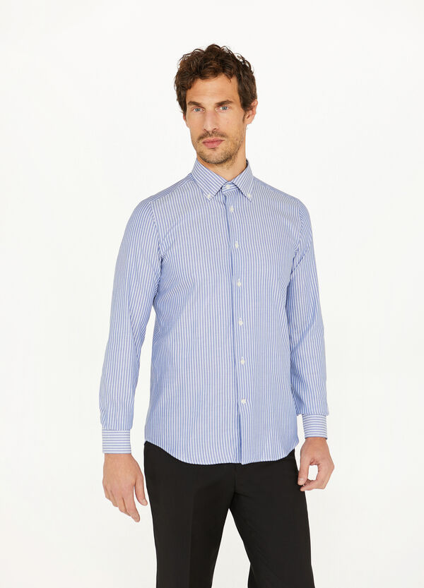 Striped slim-fit formal shirt